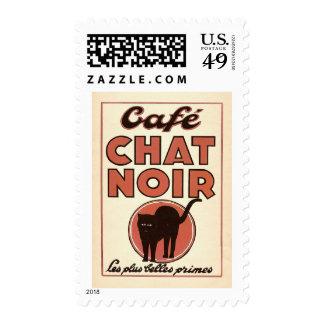 Café chat noir stamp