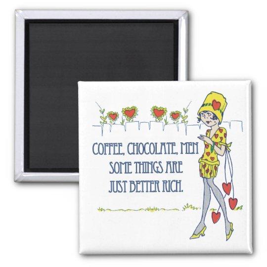 Café, chocolate, hombres imán cuadrado