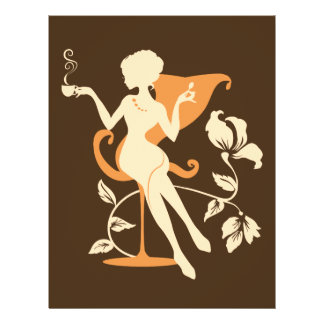 Cafe. Coffee colors. Stylish elegant silhouette Flyer