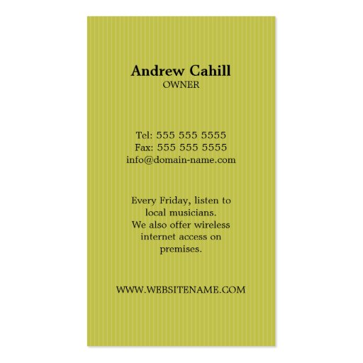 Cafe / Coffee House Business Cards (back side)