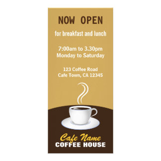 Cafe Coffee Menu Shop Beige and Brown Rack Cards
