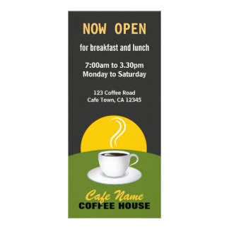 Cafe Coffee Menu Shop Black and Green Rack Cards