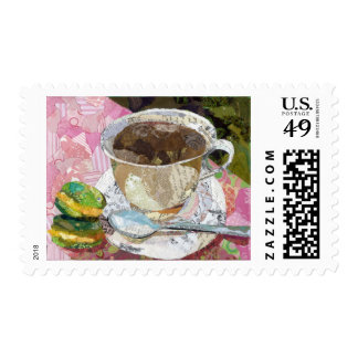 Cafe collage art postage