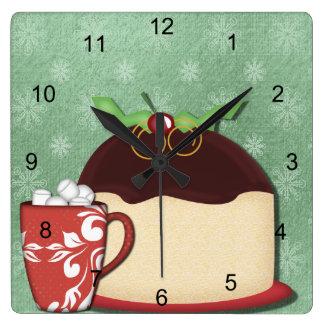Café, comida y alegría del navidad reloj cuadrado