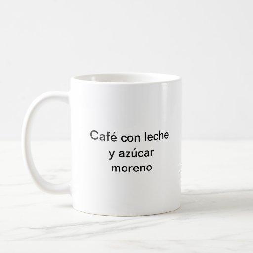 Café con azúcar moreno taza básica blanca