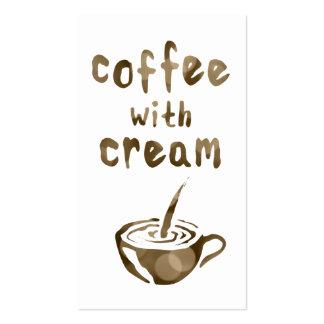 café con el bokeh poner crema de la tarjeta de tarjetas de visita