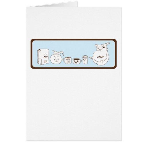 Café con el carácter tarjetas