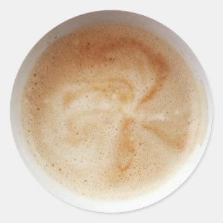 Café con el pegatina poner crema