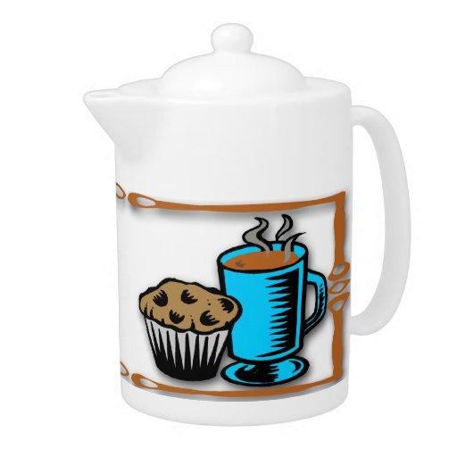 Café con el pote del té del diseño del mollete