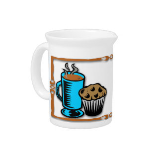 Café con la jarra del diseño del mollete
