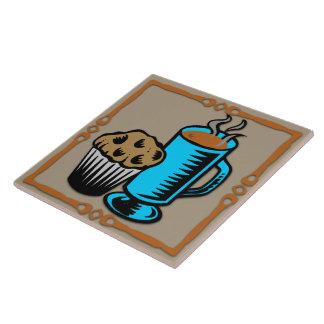 Café con la teja/Trivet del diseño del mollete Azulejo Cuadrado Grande