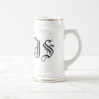 Café con leche Stein de las iniciales de encargo Jarra De Cerveza