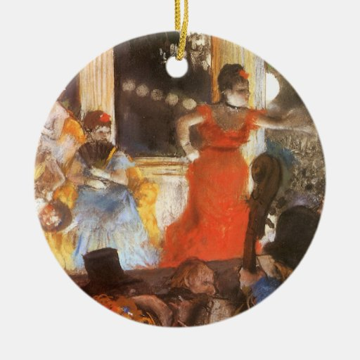 Cafe Concert at Les Ambassadeurs by Edgar Degas Double-Sided Ceramic Round Christmas Ornament