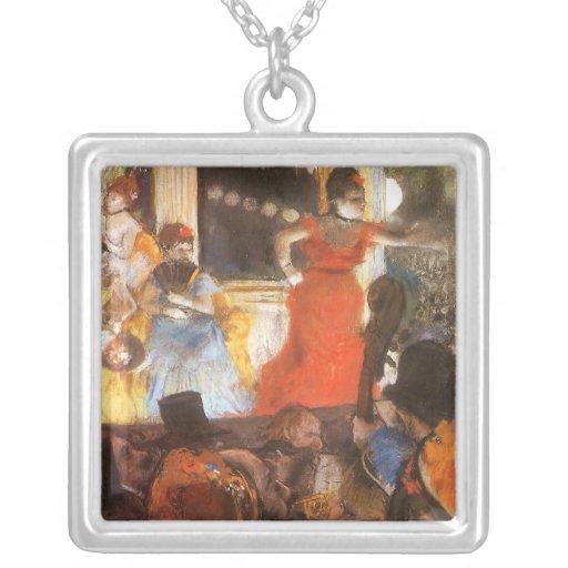 Cafe Concert at Les Ambassadeurs by Edgar Degas Square Pendant Necklace