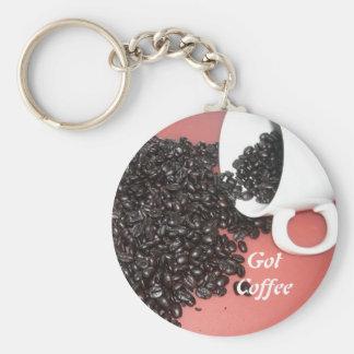 Café conseguido llavero redondo tipo pin