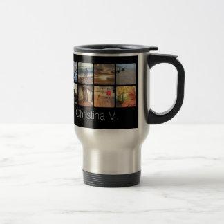 Café cuadrado personalizado del collage de la foto taza de viaje