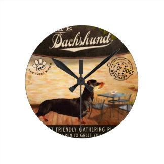 Cafe Dachshund Round Clocks