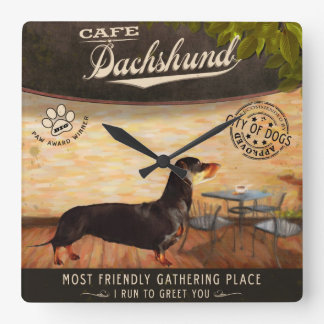 Cafe Dachshund Square Wall Clock