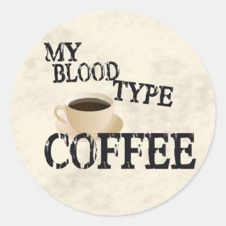 Café de Bloodtype Etiquetas Redondas