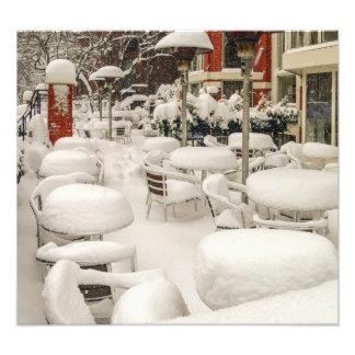 Café de Boston en la nieve Fotografias