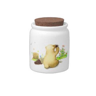 Café de consumición del oso lindo en la naturaleza platos para caramelos