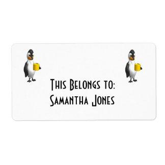 café de consumición del pingüino etiquetas de envío