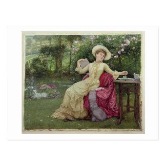 Café de consumición y lectura en el jardín (w/c en tarjetas postales