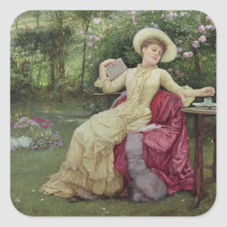 Café de consumición y lectura en el jardín (w/c pegatina cuadrada