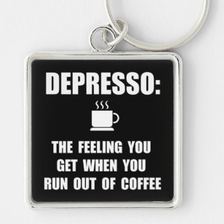 Café de Depresso Llavero Cuadrado Plateado