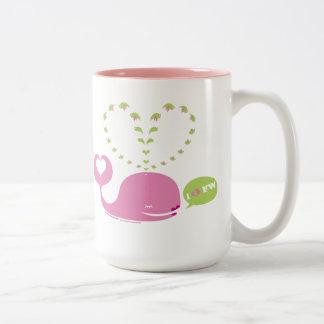 Café de EveWhale/taza rosados dulces del té Taza De Dos Tonos