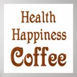Café de la felicidad de la salud impresiones