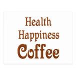 Café de la felicidad de la salud postales