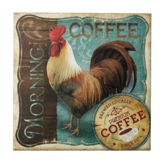 Café de la mañana azulejo cuadrado pequeño