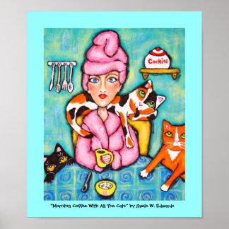 Café de la mañana con todos los gatos póster