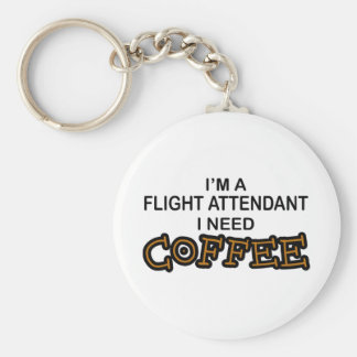 Café de la necesidad - asistente de vuelo llavero redondo tipo pin