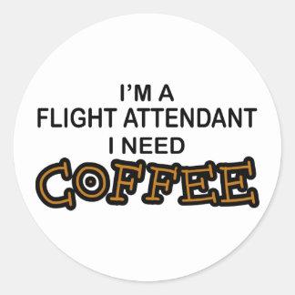 Café de la necesidad - asistente de vuelo pegatina redonda