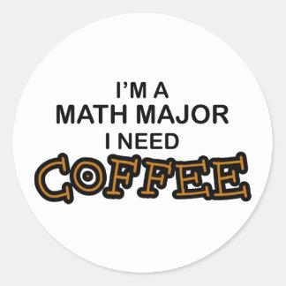 Café de la necesidad - comandante de matemáticas pegatina redonda