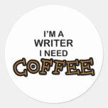 Café de la necesidad - escritor pegatinas redondas