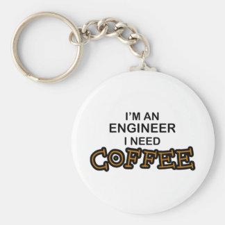 Café de la necesidad - ingeniero llavero redondo tipo pin