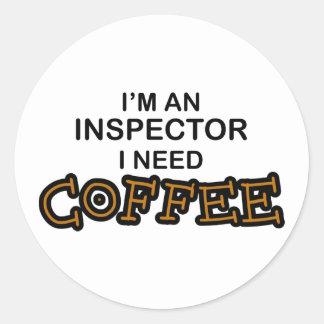 Café de la necesidad - inspector pegatina redonda