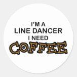 Café de la necesidad - línea bailarín etiquetas redondas