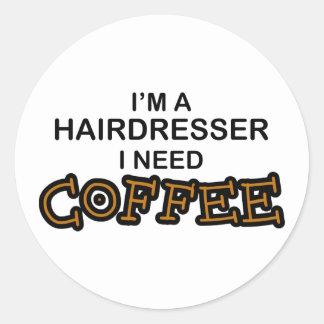 Café de la necesidad - peluquero etiqueta redonda