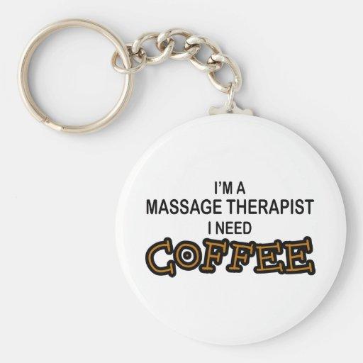 Café de la necesidad - terapeuta del masaje llavero redondo tipo pin