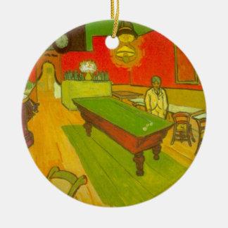 Café de la noche de Van Gogh, bella arte del Adorno Navideño Redondo De Cerámica