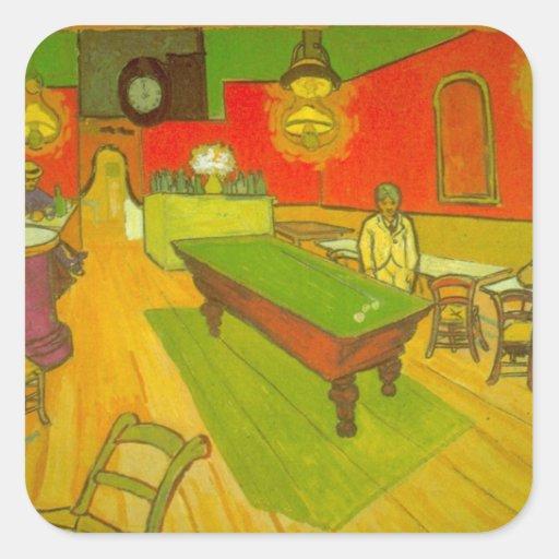Café de la noche de Van Gogh, bella arte del Pegatina Cuadrada