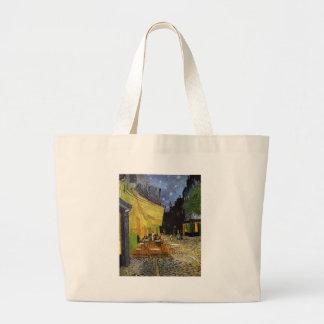 Café de la noche de Van Gogh Bolsa De Tela Grande