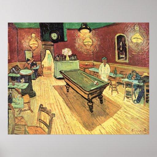 Café de la noche de Van Gogh en el lugar Póster