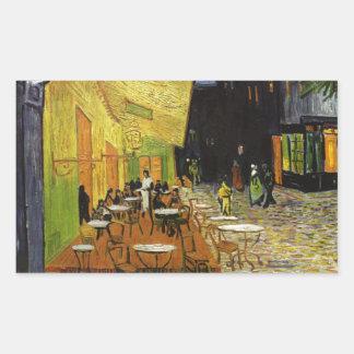 Café de la noche de Van Gogh Pegatina Rectangular