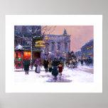 Cafe de la Paix, Opera.Winter. Fine Art Poster