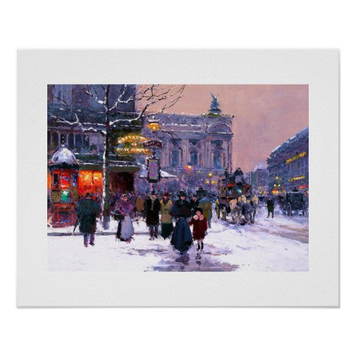 Cafe de la Paix, Opera.Winter. Poster de la bella